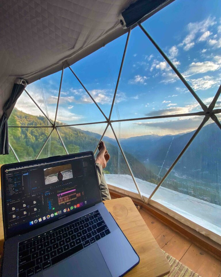 Work from Mountains Geodesic Dome GlampEco